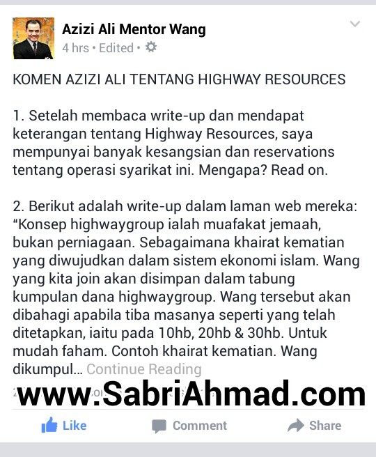 Komen Azizi Ali Tentang Highway Resources ( Highway Group )